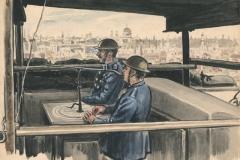 Firewatchers on the top of Smiths Buildings near Lambeth Bridge. Sept 1944